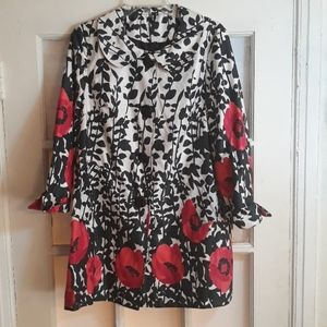 Lightweight floral peacoat